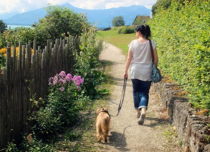 Frau mit Hund beim Gassi gehen